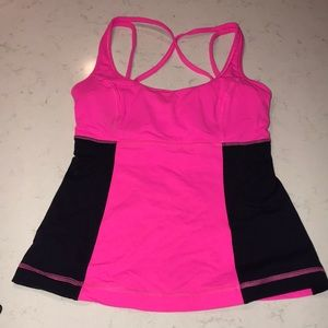Hot pink and black lululemon tank top Size 6